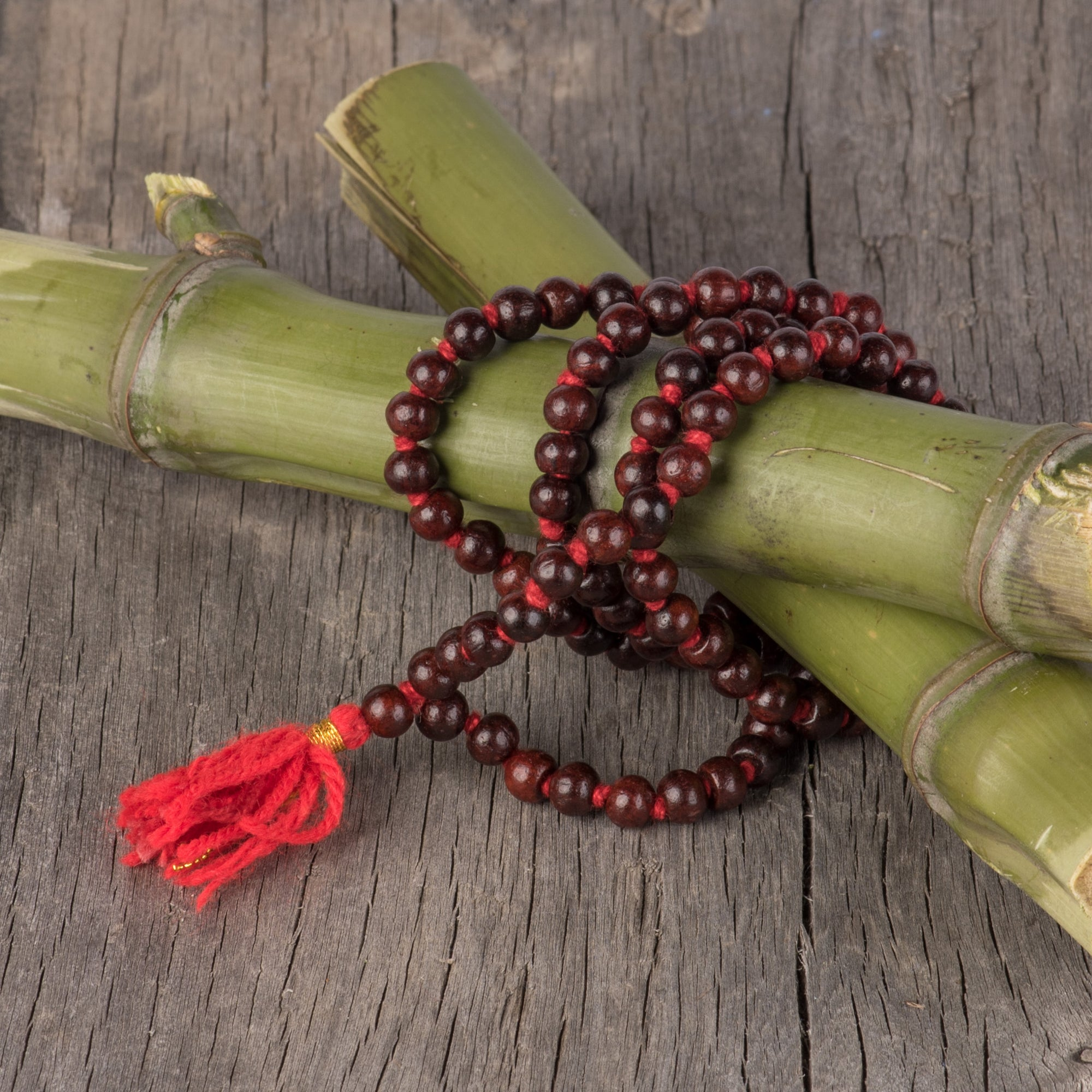 Red Sandalwood Mala On Knotted Cord
