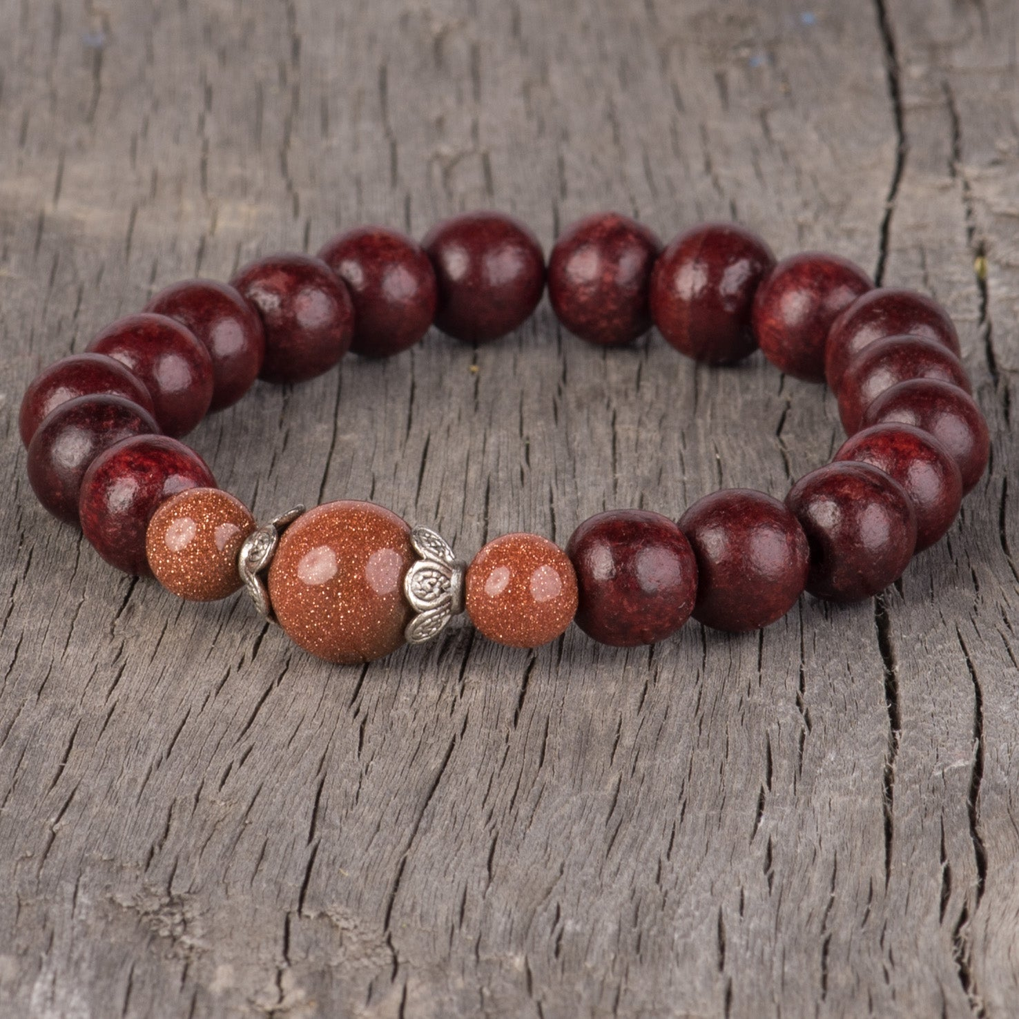 Red Sandalwood Wrist Mala with Gemstones (various colors)