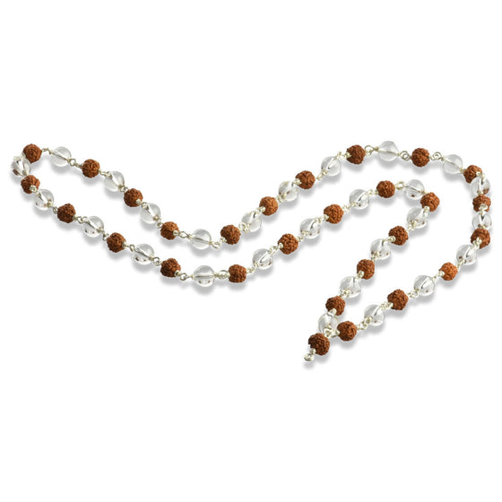 Rudraksha and Quartz Crystal Mala