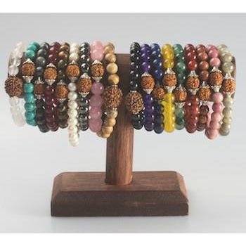 Gemstone on elastic bracelet