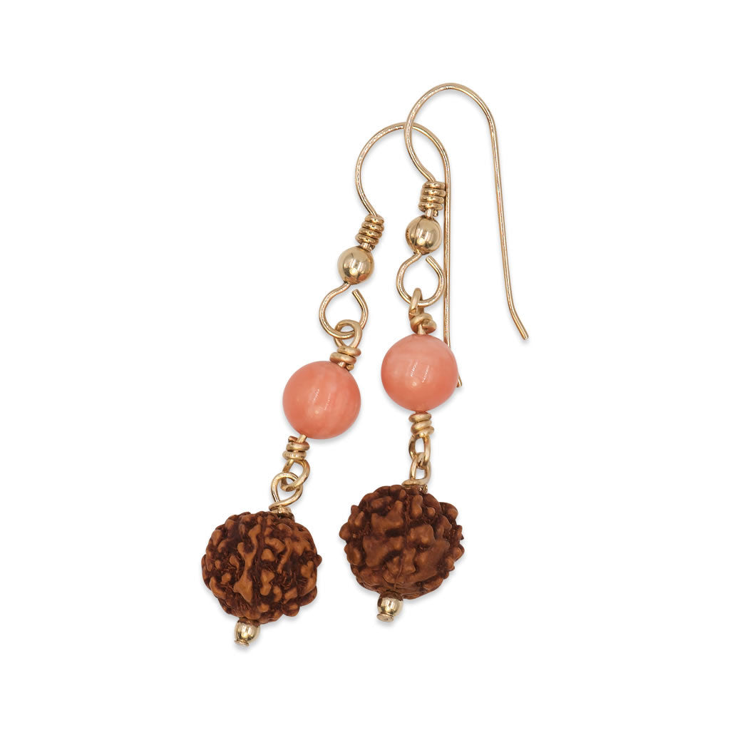 Rudraksha Drop Earrings with Coral Beads
