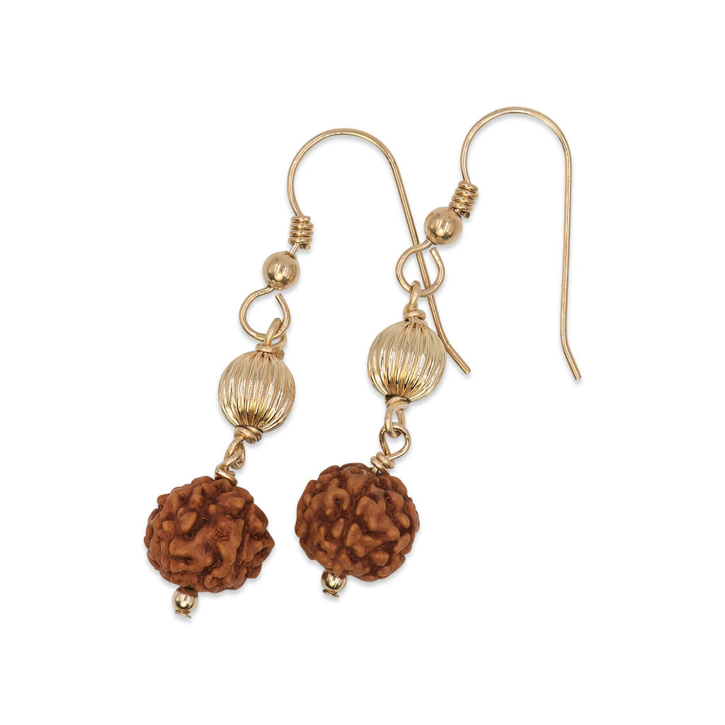 Rudraksha Drop Earrings with Gold Beads