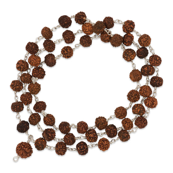 Rudraksha Mala: 54 Beads on Silver Wire