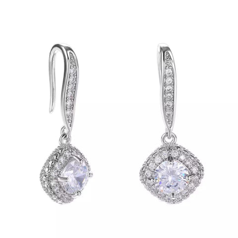 Elegant 925 Silver Drop Earrings for Women White Jewelry