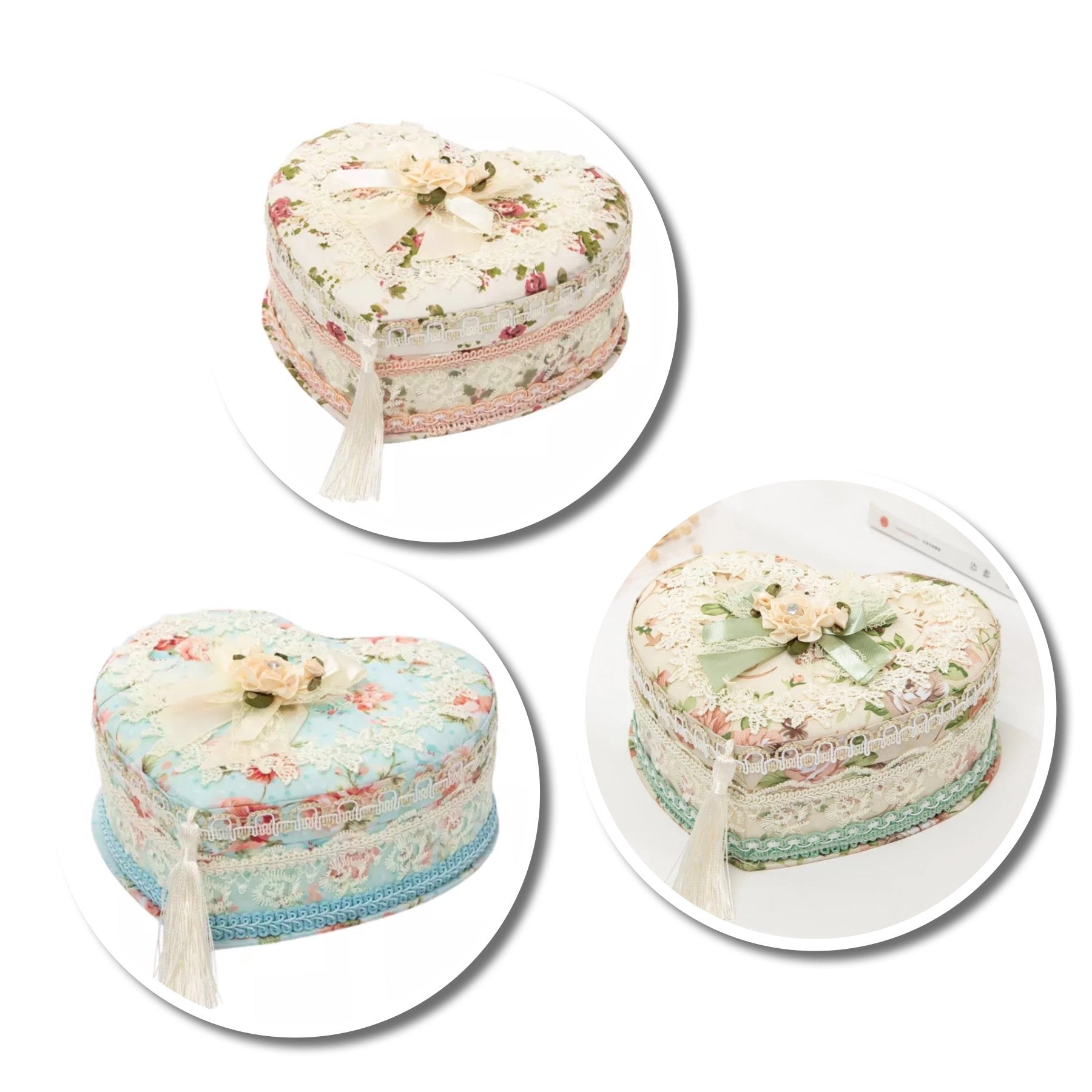 Handmade Jewelry Box Storage Box Lace Fabric