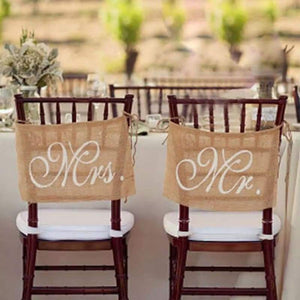 Wedding Items - frijja.com - Burlap Rustic Wedding Chair Banners Signs Mr and Mrs Vintage Wedding Decoration