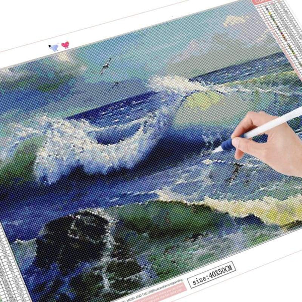 Handmade - frijja.com - DIY 5D Diamond Painting Full Square Ocean Waves Tools Included