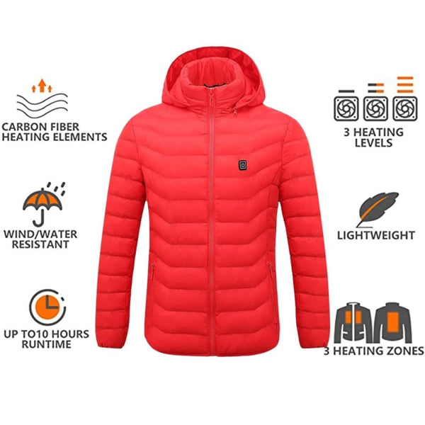 Men Accessories - frijja.com - Mens Women Heated Outdoor Parka Coat USB Electric Battery Heating