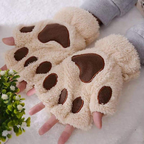 Gloves & Mittens - frijja.com - Winter Gloves Plush Thick Warm Half-Finger Paw
