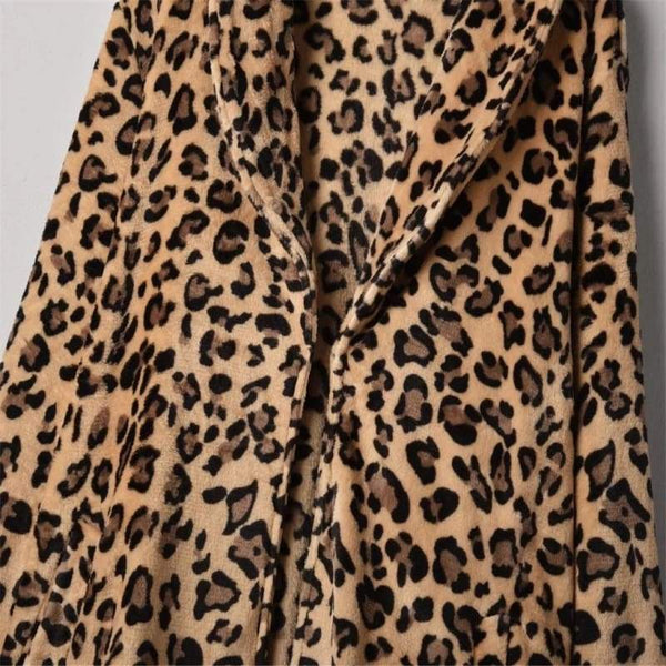 Women Fashion - frijja.com - Women's Jacket Leopard Faux Fur Pocket Warm Winter Oversized Outwear Long Coat Fashion