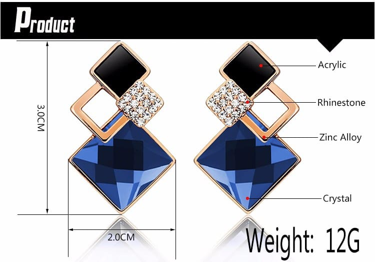 Square Geometry Jewelry Necklace And Stud Earrings (Sold Separately)