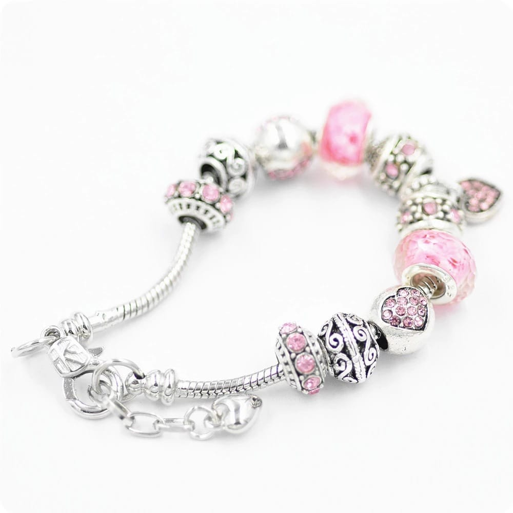 Crystal Beaded Handmade Heart Beaded Bracelet
