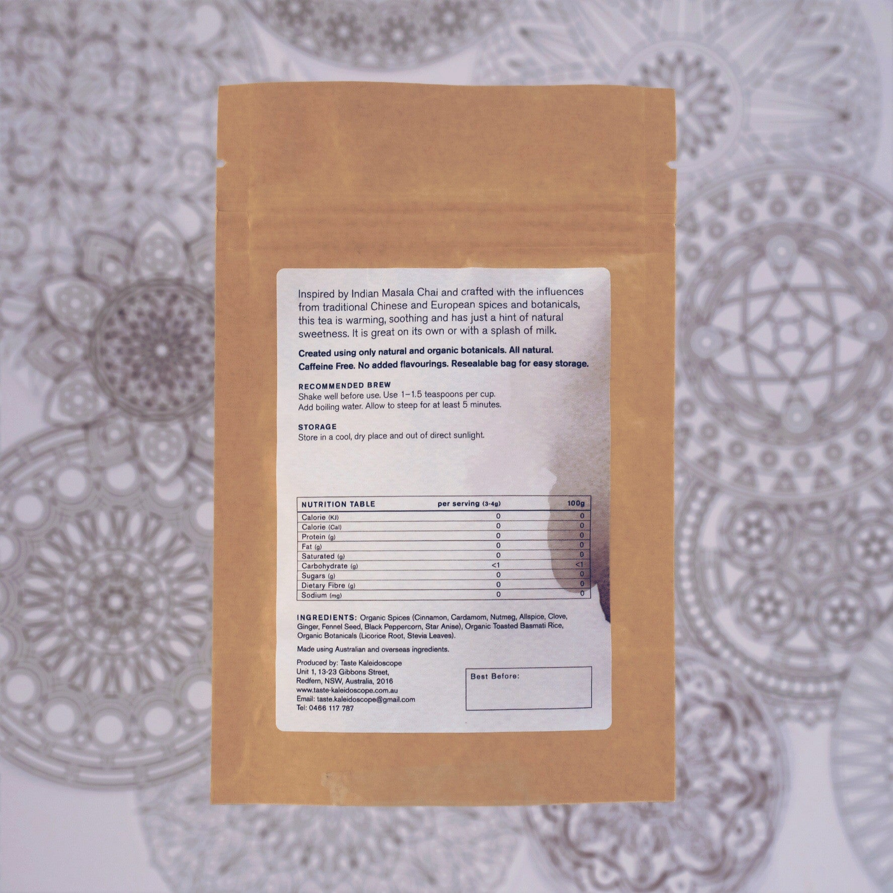 Spiced Tea No.1 - Indian Masala  50g  [Sweet Spices, Caffeine-Free] - Taste Kaleidoscope