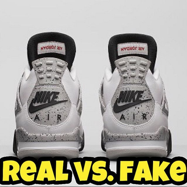b28c9d10d6273c Fake Education - Real Vs. Fake 2016 Jordan Retro 4 Cement – Kaviar Kicks