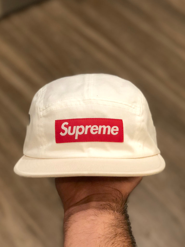 Supreme 2-Tone White Canvas Camp Cap SS19