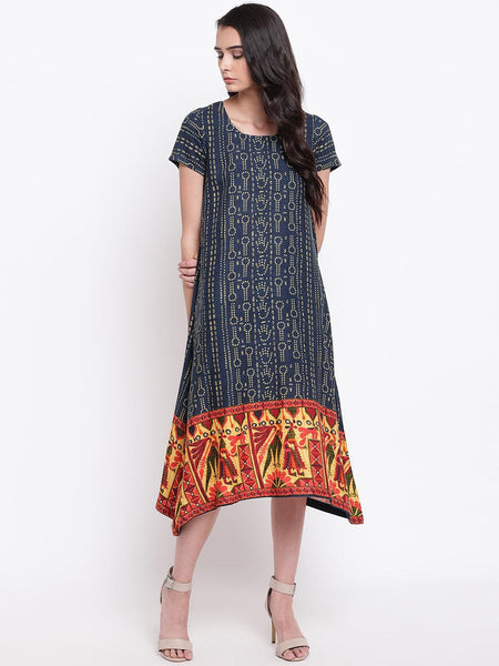 Blue Print Border Dress