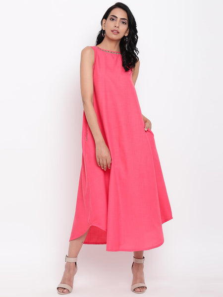 Linen Cotton Pink Jute Long Dress