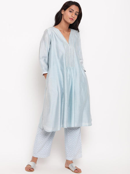 Blue Embroidered Kurta-Set