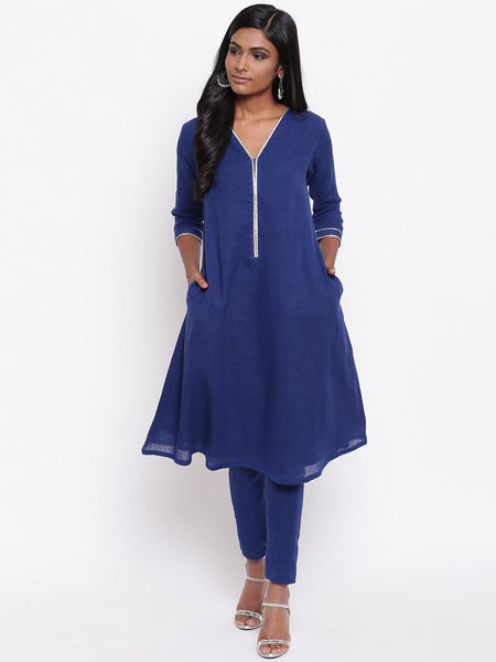 Khadi Blue Gota Neck Kurta Set