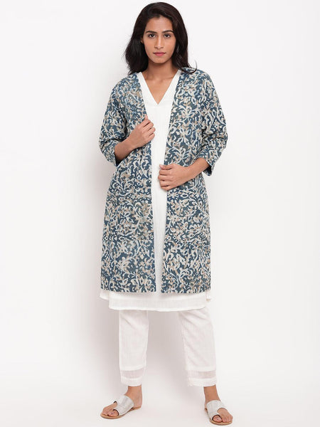 Blue Dabu Print Jacket