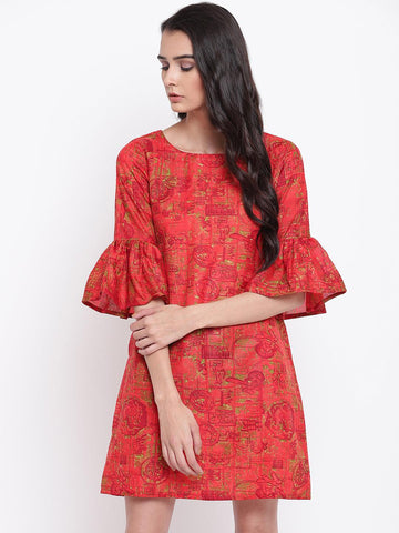 Orange Gathered Sleeve Dress