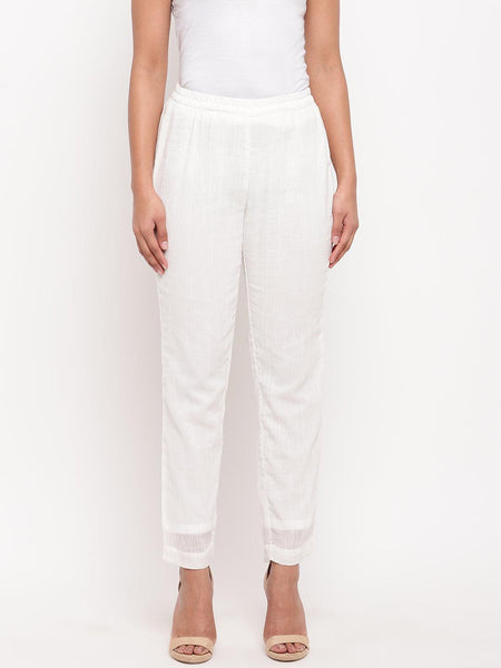 White Crinkled Pant