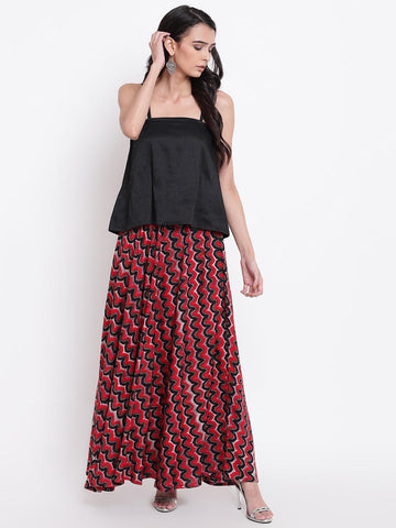 Red Black Chevron Cotton Skirt
