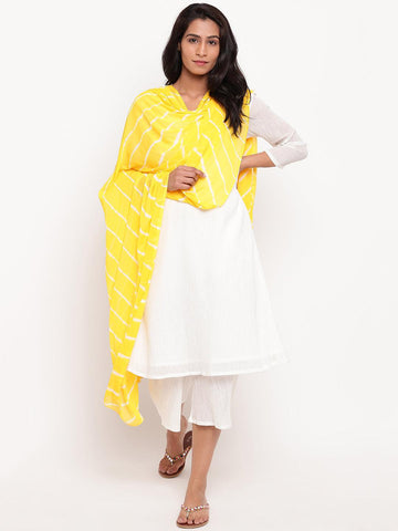 Yellow Leheriya Dupatta