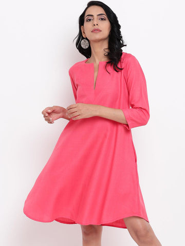 Linen Cotton Pink Flared Dress