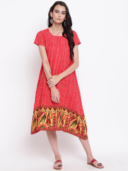 Red Print Border Dress