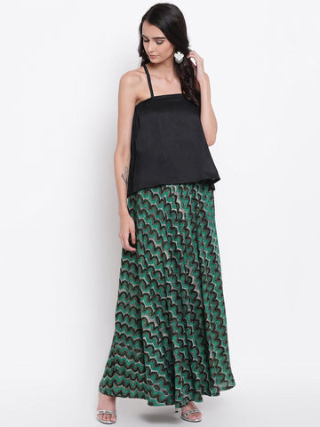 Green Black Chevron Cotton Skirt