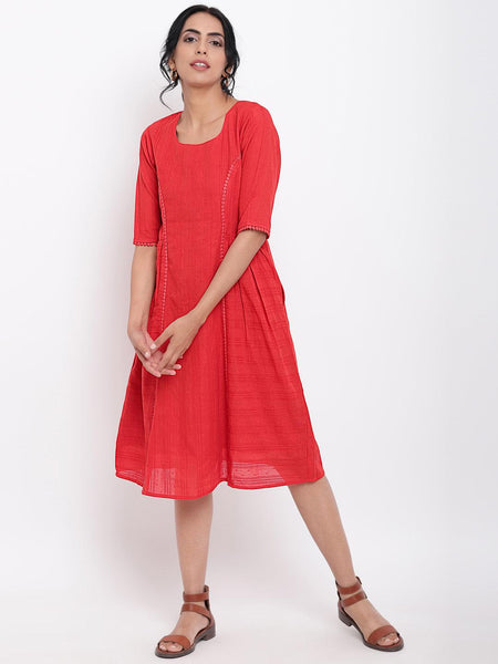 Red Lace Side Gathers Dress
