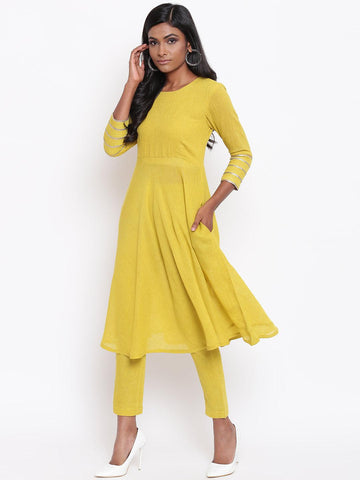 Khadi Yellow Gota Sleeve Kurta Set