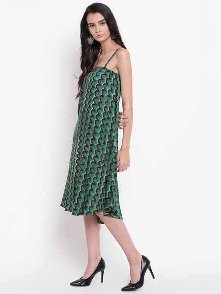 Green Chevron Strap Dress