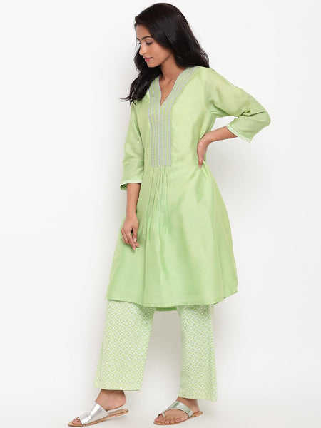 Mint Green Embroidered Kurta-Set