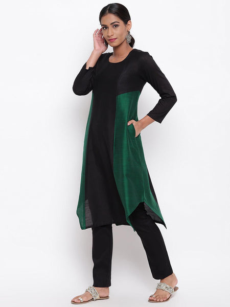 Black Green Kurta-Pant