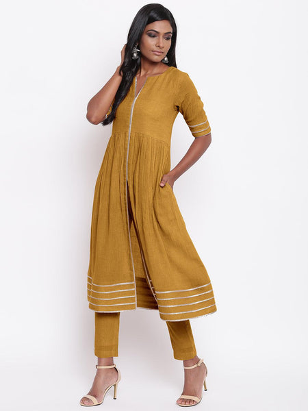 Khadi Green Gota Slit Kurta Set
