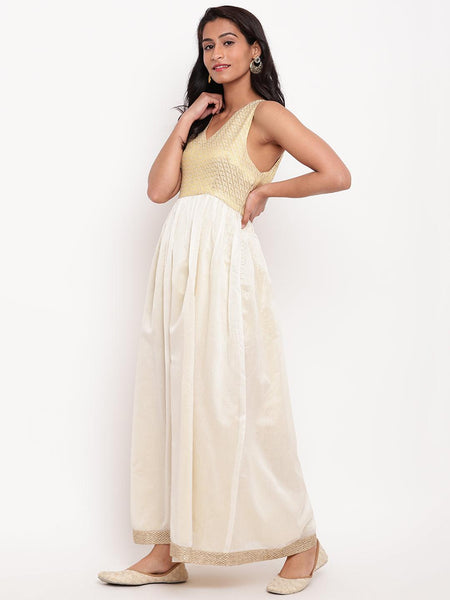 Gold Brocade Ivory Dress