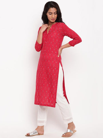 Red Ikkat Kurta