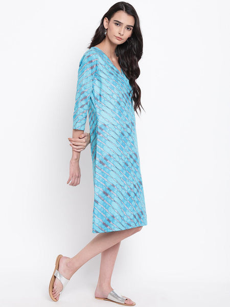 Blue Stripe Angrakha Dress