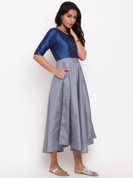 Blue Brocade Grey Dress