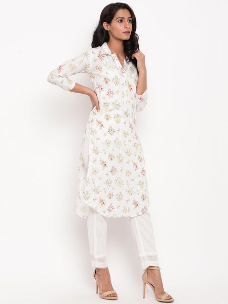Multi Floral Collar Slit Kurta