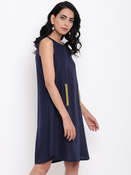 Linen Cotton Blue Lace Dress