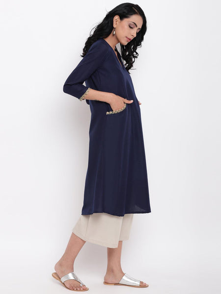 Linen Cotton Blue Jute Kurta Pant Set
