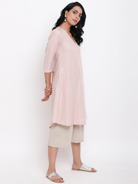 Linen Cotton Rose Kurta Pant Set