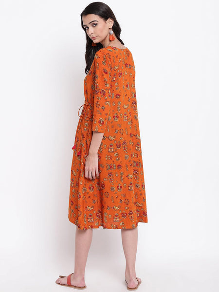Orange Print Angrakha Dress