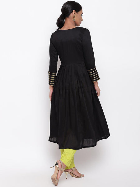 Black Embellished Sleeve Kurta-Pant