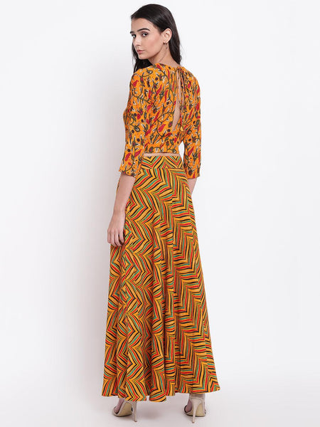 Yellow Stripe Floral Skirt-Top Set