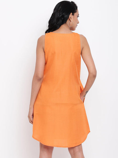 Linen Cotton Orange Pin-Tucks Dress
