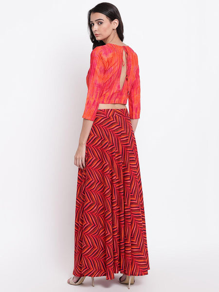 Red Pink Stripe Skirt-Top Set